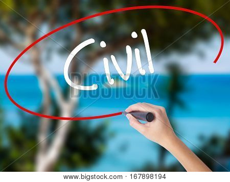 Woman Hand Writing Civil With Black Marker On Visual Screen