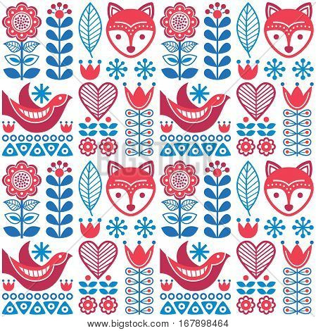 Scandinavian seamless folk art pattern - Finnish design, Nordic style