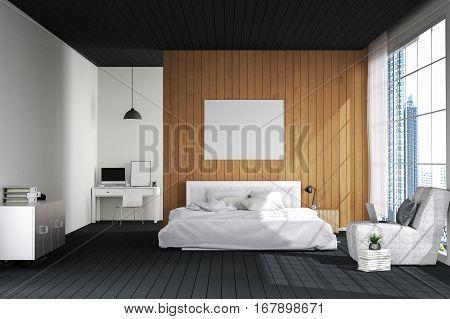 3D rendering : illustration of big spacious bedroom in soft light color.big comfortable double bed in elegant classic modern bedroom.interior design of house.modern wooden tile house