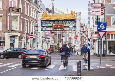 THE HAGUE THE NETHERLANDS - AUGUST 23 2014 - The gateway to China town in The Hague Netherlands