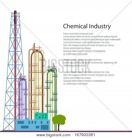 Chemical Plant Isolated on White Background and Text ,Refinery Processing of Natural Resources, Industrial Pipes, Poster Brochure Flyer Design, Vector Illustration