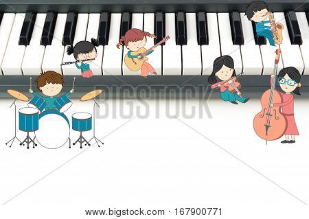 Children music school composition with boys and girls playing many instruments on piano keyboard background
