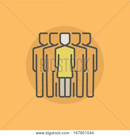 Woman leader colorful icon. Vector group of people with a woman leader in the center symbol or logo element