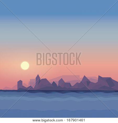 Sea vector landscape, sunset evening lanscape, sun and sea illustration