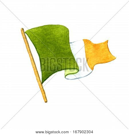 Irish flag. Watercolor illustration on white background