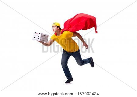 Super hero pizza delivery guy isolated on white