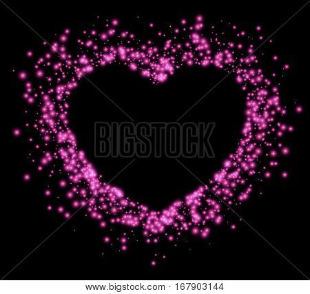 Black Valentine's love background with shining pink heart. Vector illustration.