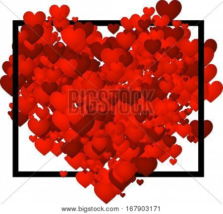 Valentine's love background with red hearts. Vector paper illustration.