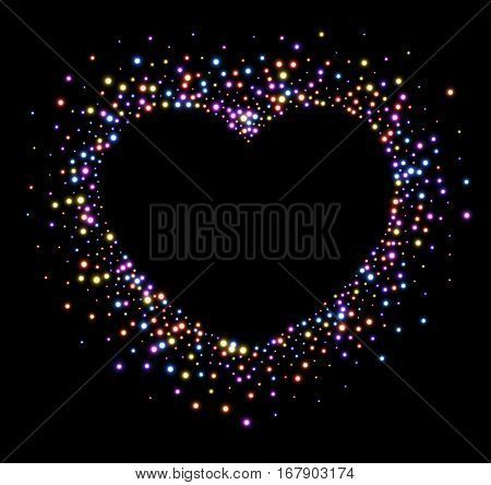 Black Valentine's love background with shining colorful heart. Vector illustration.