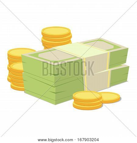 Stacked pile of cash money and gold coins