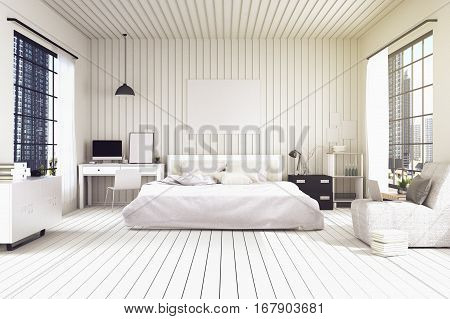 3D rendering : illustration of big spacious bedroom in soft light colors.big comfortable double bed in elegant classic modern bedroom.interior design of house