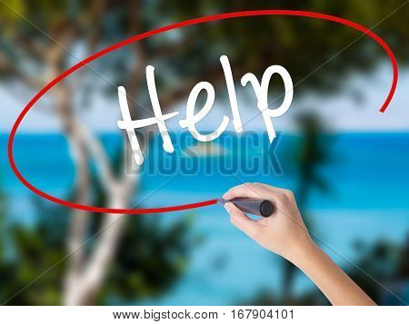 Woman Hand Writing Help With Black Marker On Visual Screen