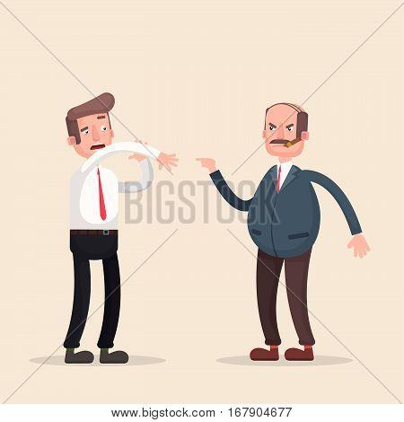 Boss man character screams on worker. Vector flat cartoon illustration.