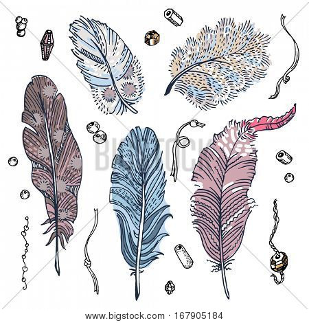 Set of sketched feathers, beads and ribbons. Free hand drawing