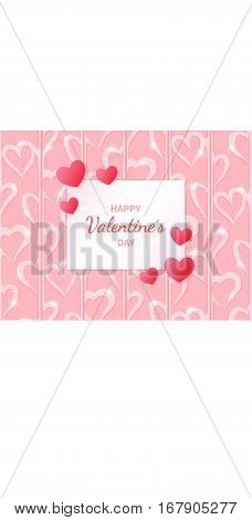 Happy Valentine's Day. Greeting card with hearts on the abstract hearts background. Lettering in the middle. Festive romantic love illustration. Vector.