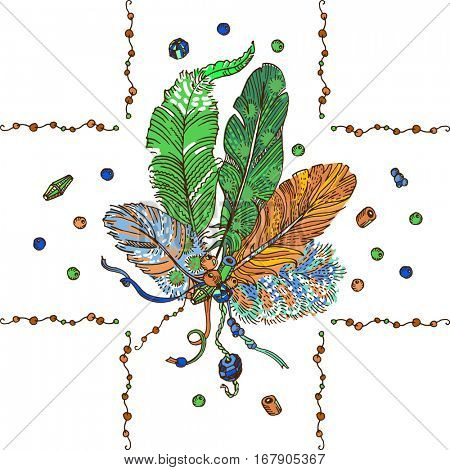 Romantic bohemian style design. Free hand drawing of feathers with beads, frame