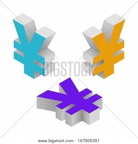 Symbol yen currency. Isometric icons on white background. Vector 3d illustration.