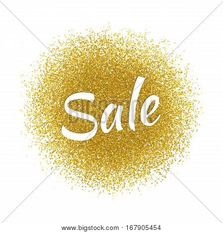 Vector sale template for banners, sites, advertisement, fliers, brochures, magazines on gold glitter, sparkles, bright texture background.