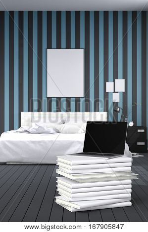 3D Rendering : illustration of close up of laptops in modern interior bedroom. close-up. Mock up. light from outside. frame mock up. blue and black bed room. white furniture. white book stacked
