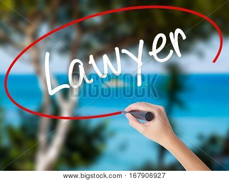 Woman Hand Writing Lawyer With Black Marker On Visual Screen