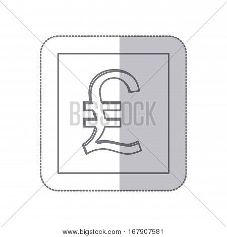 middle shadow monochrome square with currency symbol of lira italy vector illustration