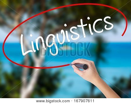 Woman Hand Writing Linguistics  With Black Marker On Visual Screen