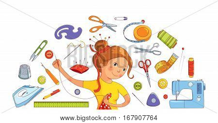 Seamstress girl and sewing or tailoring tools, sewing machine, needles vector half round concept