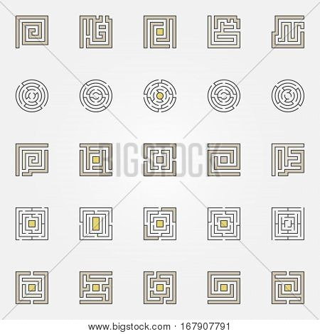 Labyrinth icons set. Vector colorful and thin line maze concept symbols collection