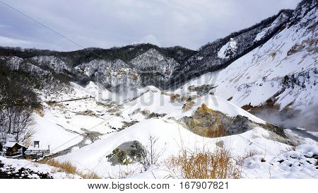 Noboribetsu Onsen Snow Winter Landscape Hell Valley