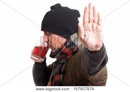 Male With Influenza Doing Stop Gesture