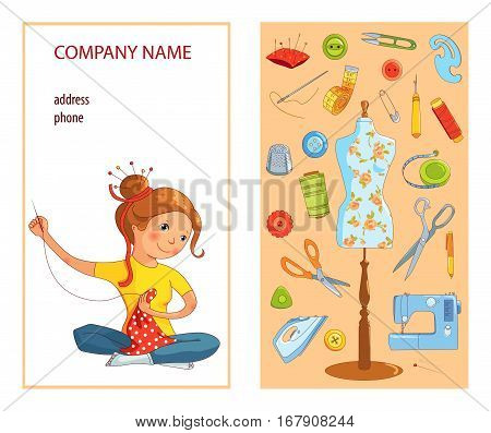 Sewing studio business card vector template, Hand sewn concept, Seamstress and sewing tools, Cartoon style