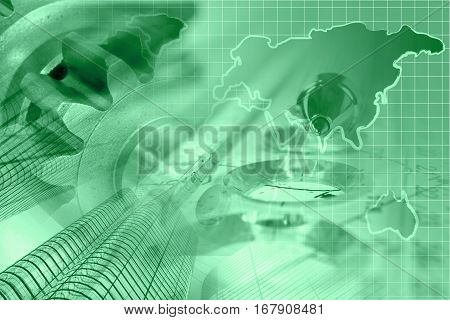 Financial background in greens with map buildings gears and pen.