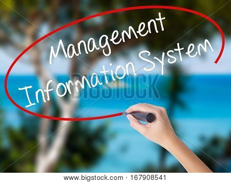 Woman Hand Writing Management Information System With Black Marker On Visual Screen.