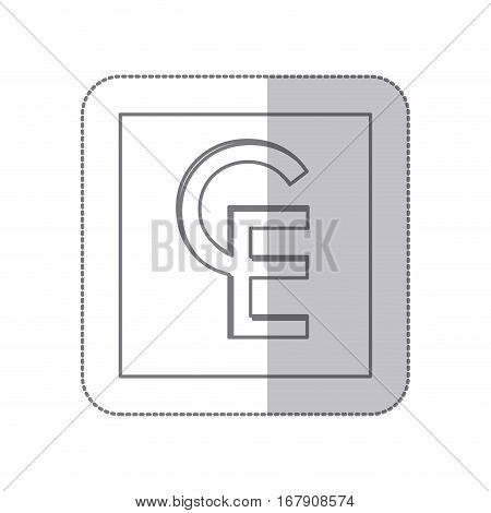 middle shadow monochrome square with currency symbol of european currency unit vector illustration