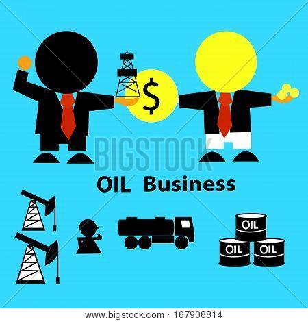Oil market. Business concept ( businessman,  derrick, gasoline tanker, workers, oilman, tanks). Vector illustration.