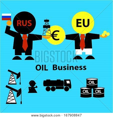 Russia sells oil to the European Union. Oil market. Business concept ( businessman,  derrick, gasoline tanker, workers, oilman, tanks). Vector illustration.