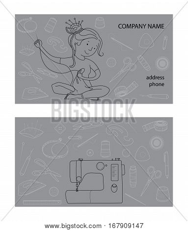 Sewing studio business card vector template, Hand sewn concept, Seamstress and sewing tools, Thin line cartoon style