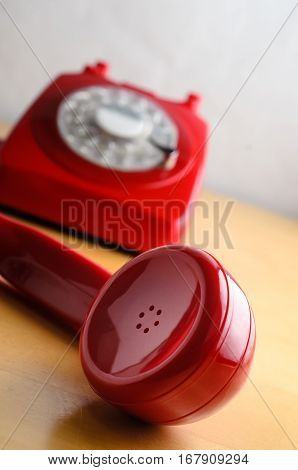 Retro Red Telephone With Receiver Off The Hook
