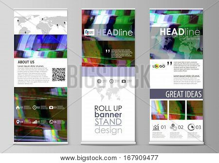 Set of roll up banner stands, flat design templates, abstract geometric style, modern business concept, corporate vertical vector flyers, flag layouts. Glitched background made of colorful pixel mosaic. Digital decay, signal error, television fail.