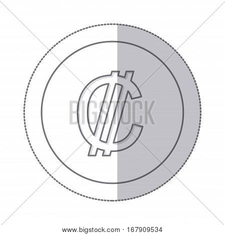 middle shadow monochrome circle with currency symbol of colon costa rica vector illustration
