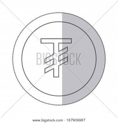 middle shadow monochrome circle with currency symbol of tugrik mongol vector illustration