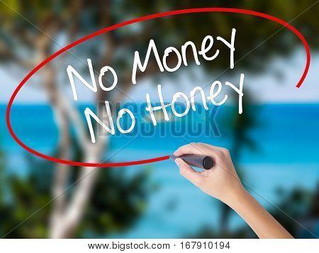 Woman Hand Writing No Money No Honey With Black Marker On Visual Screen.
