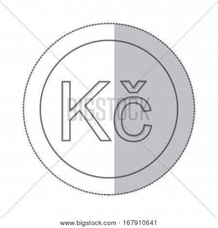 middle shadow monochrome circle with currency symbol of czech koruna vector illustration