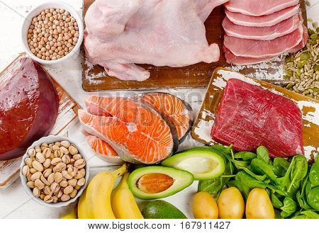 Natural Products Rich In Vitamin B6. Healthy Diet  Eating  Concept.
