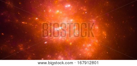 Colorful orange nebula in space computer generated abstract background 3D render