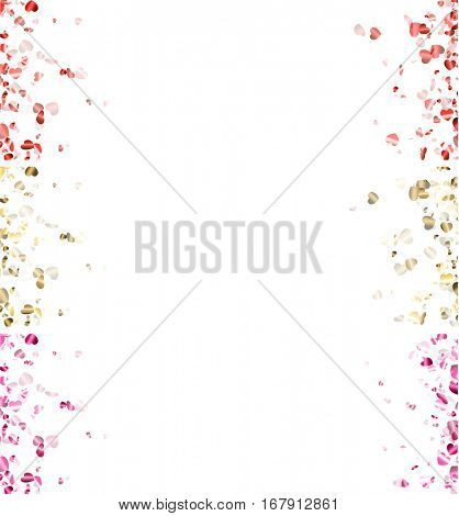 Love valentine's white banners with glossy hearts. Vector illustration.