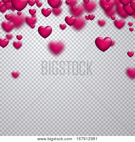 Love valentine's checkered background with 3d pink hearts. Vector illustration.