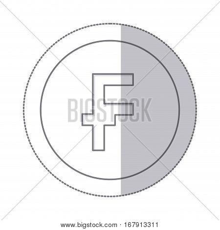 middle shadow monochrome circle with currency symbol of frank french and belgian vector illustration