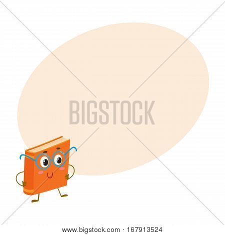 Funny orange book character in round blue nerdish glasses, cartoon vector illustration on background with place for text. Clever, smart book in round nerd style glasses, school, education concept