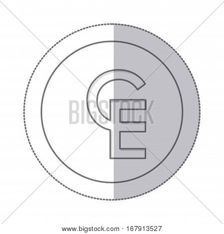 middle shadow monochrome circle with currency symbol of european currency unit vector illustration